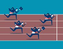 Business race. Businessman running along the track. Concept busi. Business man race. Concept business vector illustration. Flat character design style Stock Photography