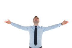 Business man with raised hands in air on white Stock Photos