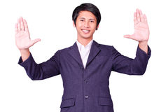 Business man raises up hand Royalty Free Stock Images