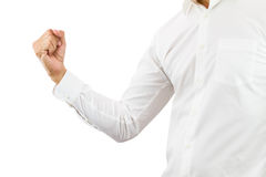 Business man raising right fist up with cheerful on white background with clipping path Stock Photo