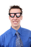 Business Man with X-Ray Glasses. A handsome young business man with x-ray glasses stock images