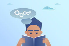 Business Man Reading Book Chat Bubble With Cogwheel Brainstorming Process Concept Stock Images