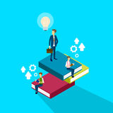 Business Man Reading Books Brainstorming Study 3d Isometric. Vector Illustration Royalty Free Stock Image