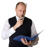 Business man reading documents Royalty Free Stock Photography