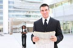 Business Man Reading Newspaper Royalty Free Stock Photos