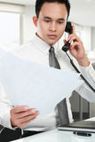 Business man reading a report Royalty Free Stock Image