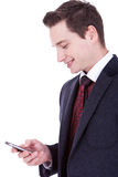 Business man reading an SMS Royalty Free Stock Image