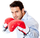 Business man ready to fight Royalty Free Stock Image