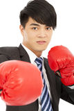 Business man ready to fight with boxing gloves Stock Photo