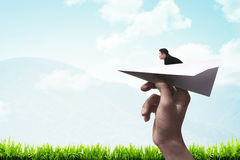 Business man ready to launch with the paper plane Stock Photo