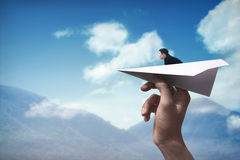 Business man ready to launch with the paper plane Royalty Free Stock Image