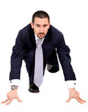 Business man ready to race Royalty Free Stock Image