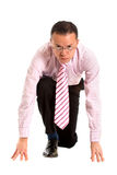 Business man ready to race Royalty Free Stock Photo