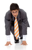 Business man ready to race Royalty Free Stock Images