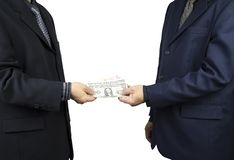 business man received money royalty free stock photos