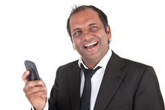Business man receiving good news Royalty Free Stock Images