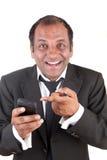Business man receiving good news Stock Images