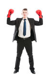 Business man with red boxing gloves standing Stock Photography