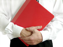 Business man with red folder. Holding in hands Royalty Free Stock Image