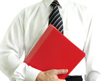 Business man with red folder. Holding in hands Royalty Free Stock Images