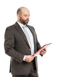 Business man with red folder Royalty Free Stock Photos