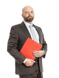 Business man with red folder Stock Photography