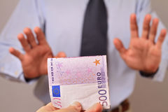 Business Man Refusing Money. Corruption, bribe concept Royalty Free Stock Photo