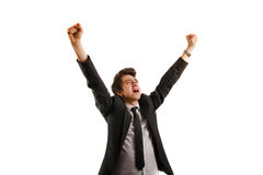 Business man rejoicing after success stock images