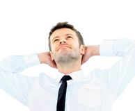 business man relaxing with hands behind head Royalty Free Stock Photos