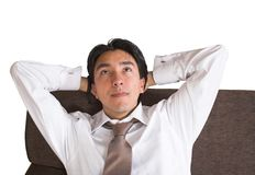 Business man relaxing at home Stock Images