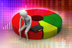 Business man resting on pie chart. In attractive colour Stock Images