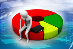 Business man resting on pie chart Stock Image