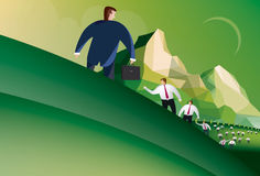 Business man returns to chaos. Illustration of a business man returning from a meeting to find the office in chaos Stock Photo