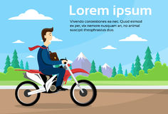 Business Man Ride Off Road Motor Bike, Sport Motocycle Over Nature Background Stock Image