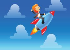 Business man ride rocket to lead his business and organization to be success,winner. Illustration Royalty Free Stock Images