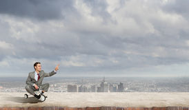 Business man riding bike Royalty Free Stock Photo
