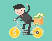 Business man riding a money bicycle with parcel box full of doll. Ar banknote, offer people come with him, flat design vector illustration