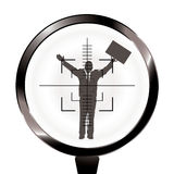 Business man rifle target. Banker or businessman in the sights of a rifle with target Stock Photography