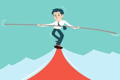 Business man in risk. Risk concept with business man on rope Stock Photo