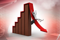 Business man rolls down the red arrow Stock Photography