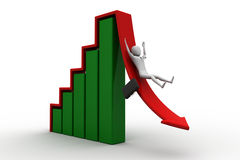 Business man rolls down the red arrow. 3d image. Stock Photography