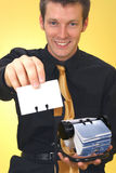 Business Man and Rolodex Royalty Free Stock Photos