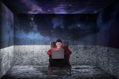 Business man on the room like outer space Stock Photo
