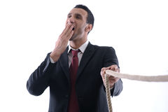 Business man with rope isolated Royalty Free Stock Image