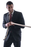 Business man with rope isolated on white Stock Photography