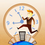 Business man run on building in rush hours Stock Photos