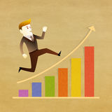 Business man run on graph Royalty Free Stock Image