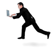 Business man run with laptop Royalty Free Stock Images