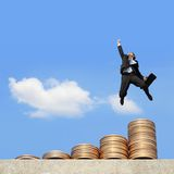 Business man run on money Royalty Free Stock Photography
