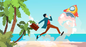 Business Man Run Space Rocket New Idea Startup Concept Tropical Seaside Background Stock Photos